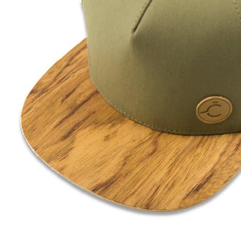 Zelená šiltovka s dreveným šiltom – Zebrano | Hendikup