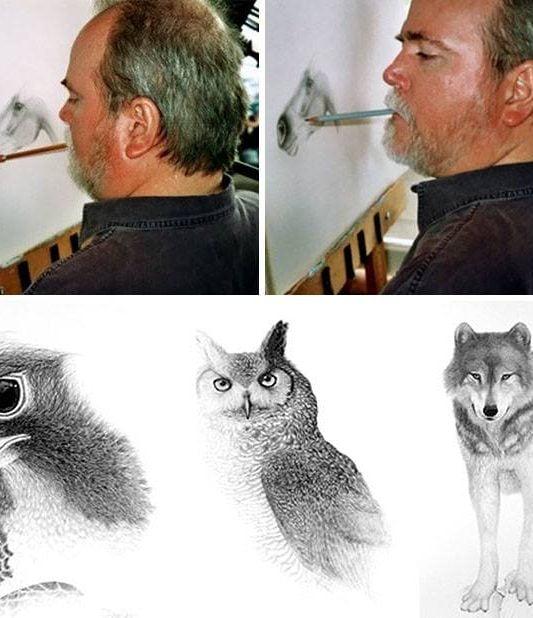 Doug Landis kresby bez rúk | Hendikup