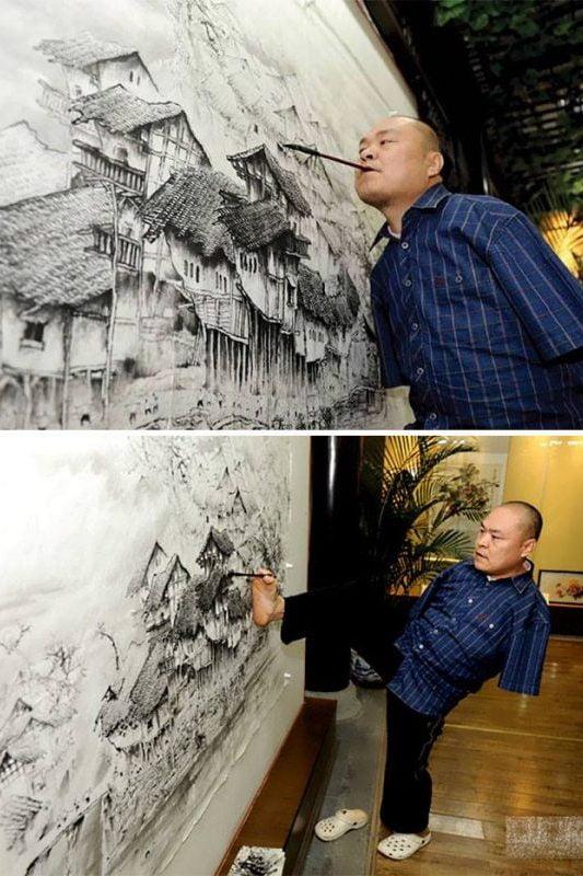 Maliar bez rúk - Huang Goufu | Hendikup