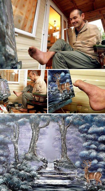Maľuje nohami - Peter Longstaff | Hendikup