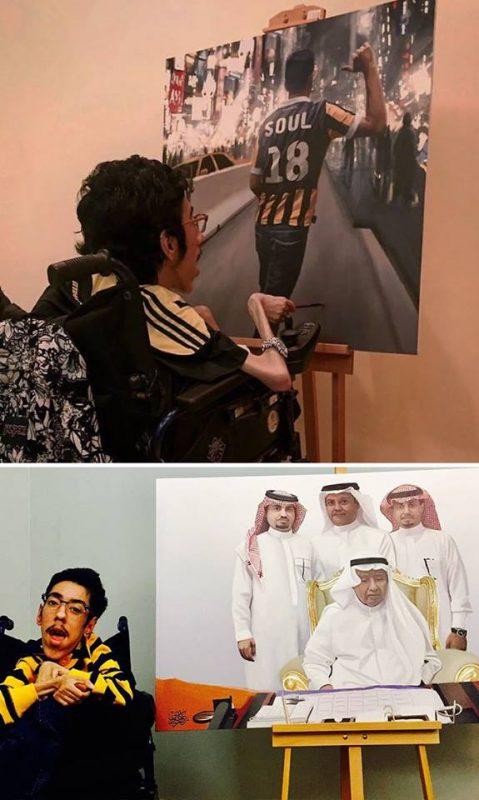 Rakan Abdulaziz Kurdi maliar na vozíku | Hendikup