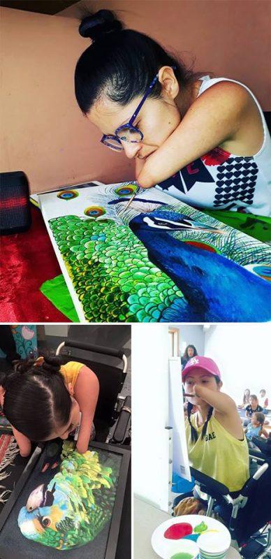 Zdravotne postihnutá maľuje bez rúk - Zuly Snguino | Hendikup