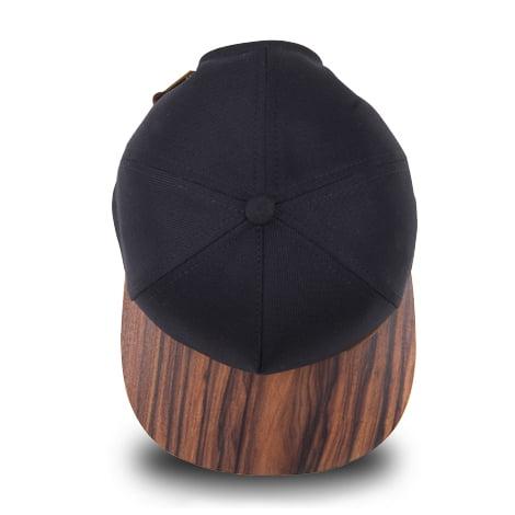 Čierna šiltovka s dreveným šiltom – santos palisander | Hendikup