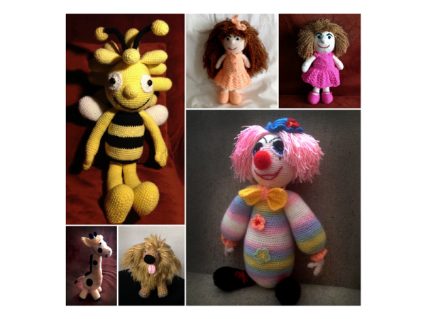 Spoločná fotka pletených hračiek - Anna Mokrá | Hendikup